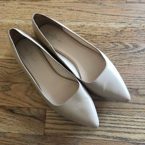 Cole Haan Patent Leather Pointy Toe Nude Flats